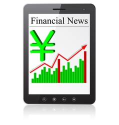 Financial News yena on Tablet PC Isolated on white vector image vector image
