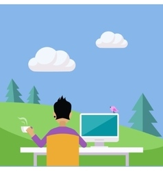 Home office in the countryside vector
