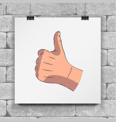 realistic hands - gestures hand-drawn icon of a vector image