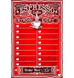 Vintage Hand Drawn Board for Espresso Menu vector image vector image