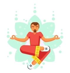 Blue Yoga pose man skill flat cartoon vector image
