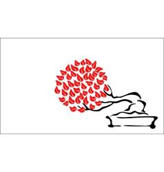 Bonsai and Japanese flag vector image vector image