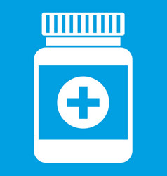Medicine bottle icon white vector