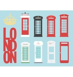 set United Kingdom Telephones Box London public vector image
