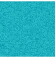 Thin Line Blue Kitchenware and Cooking Seamless vector image vector image