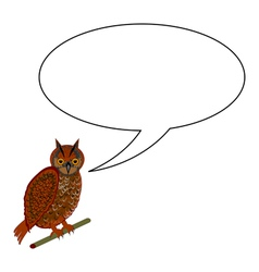 A funny cartoon owl with a speech bubble vector image