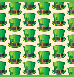 background pattern with st patrick green hat vector image