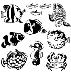 cartoon fishes black and white vector image