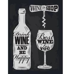 chalk wine vector image vector image
