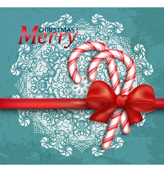 Christmas background with candy and red bow vector image vector image