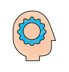 gear inside head human profile business concept vector image