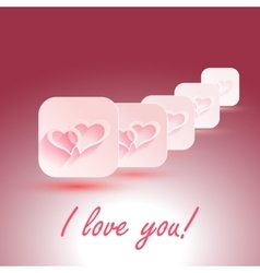 I Love You stylish design hearts with vector image vector image