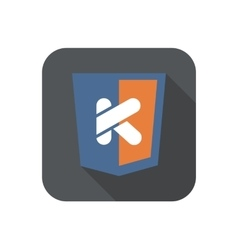 icon web shield with K letter - isolated vector image