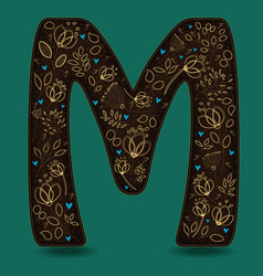 Letter m with golden floral decor vector