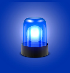 3d realistic blue turn on police flasher vector image