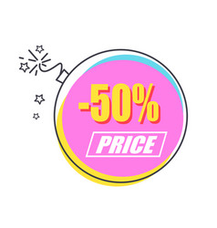 50 sale promo sticker in shape of alight bomb vector