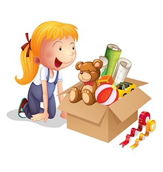 A girl with a box of toys vector