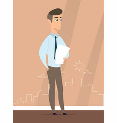 a man stands against the silhouette of the city vector image