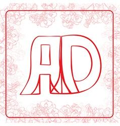 AD monogram vector image