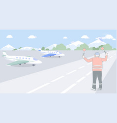 Airport employee standing on runway with airplanes vector
