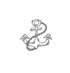 anchor sketch drawing icon summer themed vector image