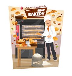 Bakery and baker pastry food bread stove vector