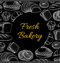 bakery poster with muffins cakes bread and buns vector image