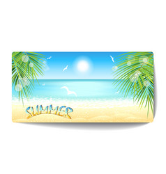 banner of sand beach at sunset time vector image