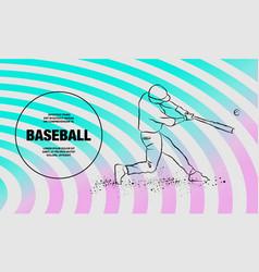 baseball player hit ball outline soccer vector image
