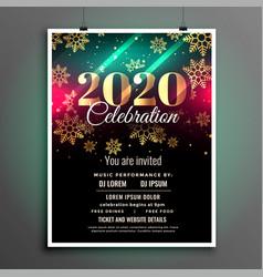 beautiful 2020 new year celebration flyer design vector image