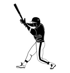 black baseball batter on white vector image