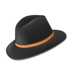 Black fedora hat with tan leather band side view vector