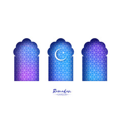 Blue arabic window arch in paper cut style vector