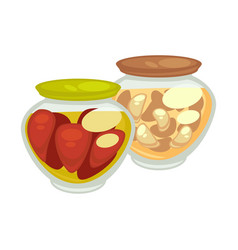Canned red oblong tomatoes and champignons vector