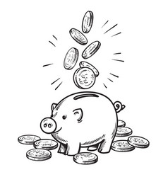 cartoon piggy bank with falling coins black and vector image