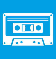 Cassette tape icon white vector