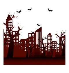 Celebration card halloween scene vector