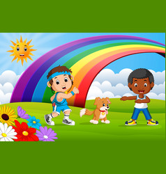 children sport and dog in the park on rainbow day vector image