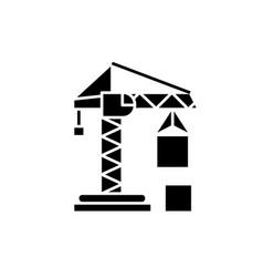 civil construction crane black icon sign vector image