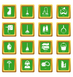 cleaning tools icons set green square vector image