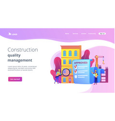 Construction quality control concept landing page vector