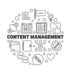 Content management round concept line vector