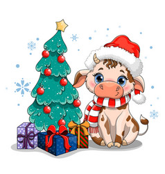 Cow with christmas tree vector