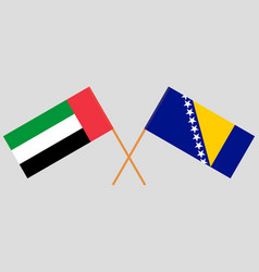 Crossed flags of bosnia and herzegovina and united vector