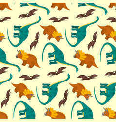 Cute cartoon dinosaurs pattern for kids textile vector