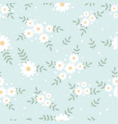 Cute flat style tiny white daisy flower on blue vector