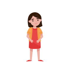 cute little brunette girl standing vector image