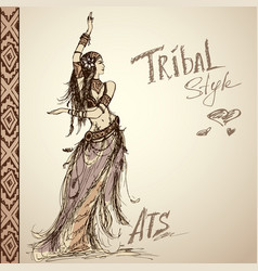 dancing girl tribal hand drawing vector image
