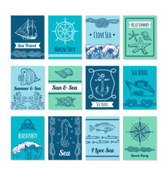 design template of cards with marine symbols in vector image