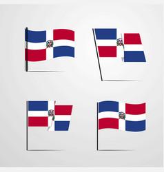 Dominican republic waving flag set design vector